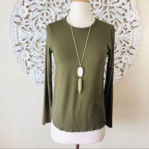 {Eileen Fisher} Olive Green Long Sleeve Tee Shirt